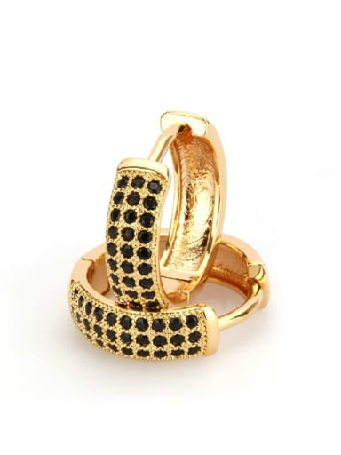 Large gold-plated black zircon Brass Cubic Zirconia Round Minimalist Hoop Earring