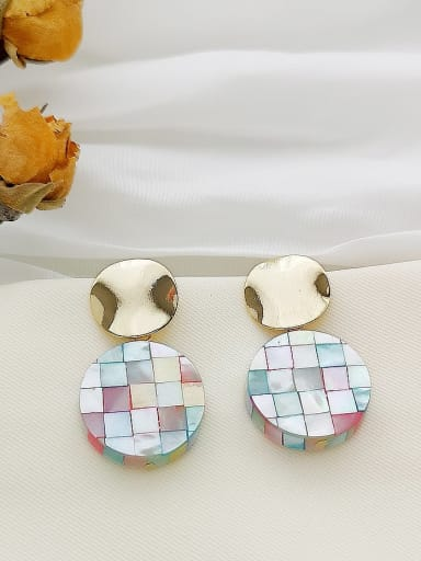 Color grid Copper  Round Minimalist Stud Earring