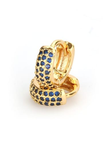 Small gold-plated Blue Zircon Brass Cubic Zirconia Round Dainty Hoop Earring