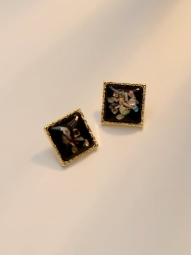 black Copper Acrylic Square Vintage Stud Earring