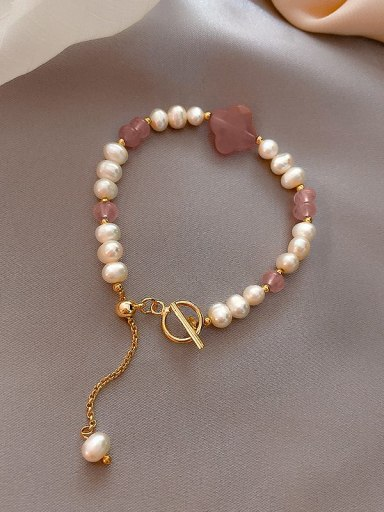 Alloy Imitation Pearl Irregular Cute Adjustable Bracelet