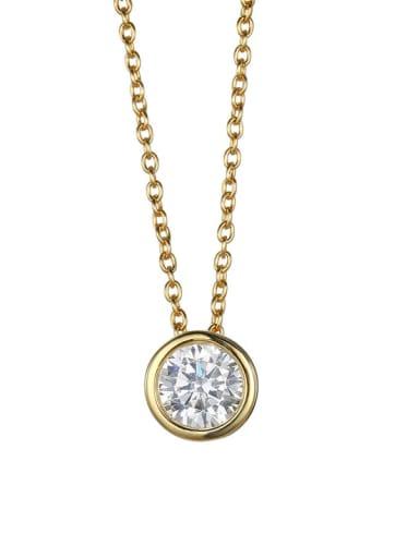 golden Stainless steel  Round Cubic Zirconia Round Minimalist Necklace