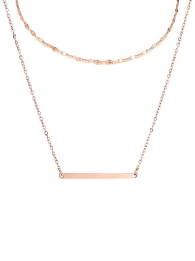 rose gold Stainless steel rectangle Minimalist Necklace