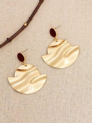 Saffron Copper Enamel Geometric Vintage Drop Earring