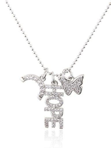 White zirconium plating Brass Cubic Zirconia Letter Vintage Necklace