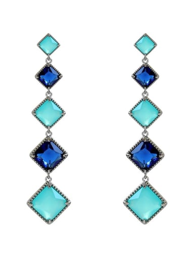 Alloy Vintage glass stone Geometric pendant  Drop Earring