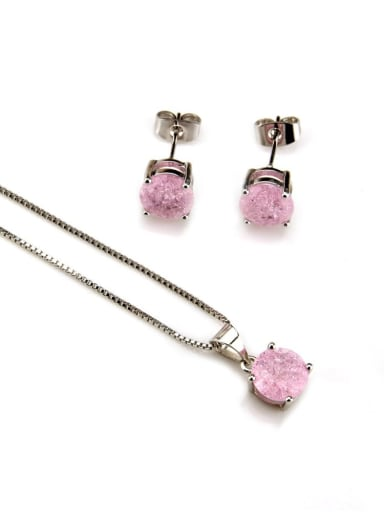 White  Plated zircon Brass Cubic Zirconia Vintage Geometric  Earring and Necklace Set