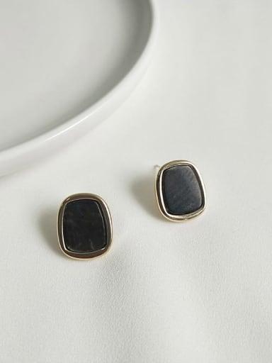 14K gold black Copper Shell Geometric Ethnic Stud Earring