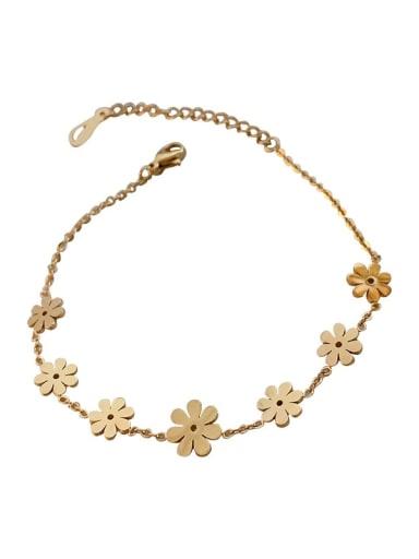Alloy Enamel Flower Minimalist Link Bracelet