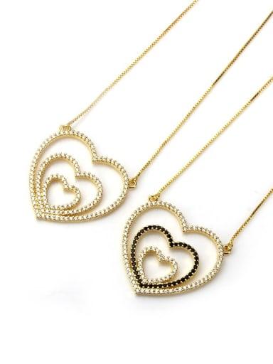 Brass Heart Cubic Zirconia Dainty Pendant