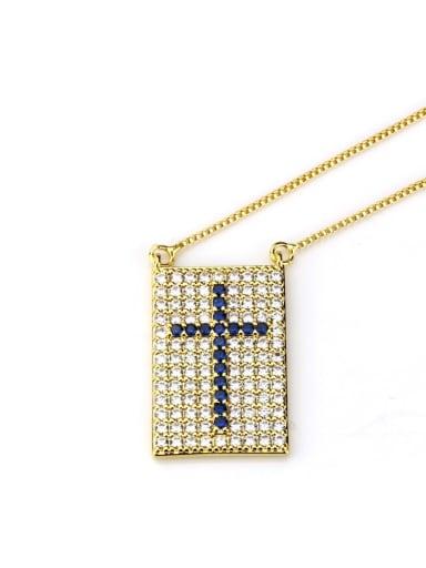 Gold Plated Blue Zircon Brass Cubic Zirconia Cross Dainty Initials Necklace