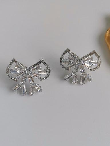 White K Copper Cubic Zirconia Bowknot Dainty Stud Earring