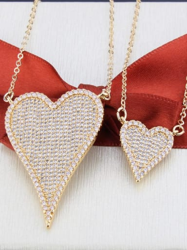 Gold plated white zirconium Brass Cubic Zirconia Heart Luxury Multi Strand Necklace