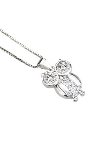 Platinum plating Brass Cubic Zirconia Owl Cute Necklace