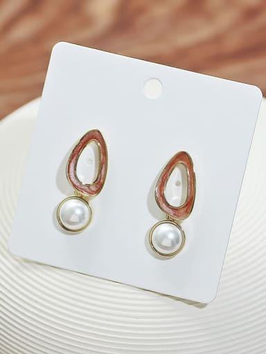 14K  gold coffee Copper Imitation Pearl Enamel Geometric Minimalist Drop Earring