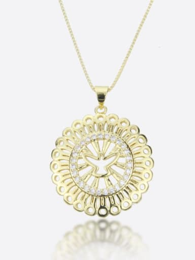 Brass Cubic Zirconia Flower Vintage Necklace