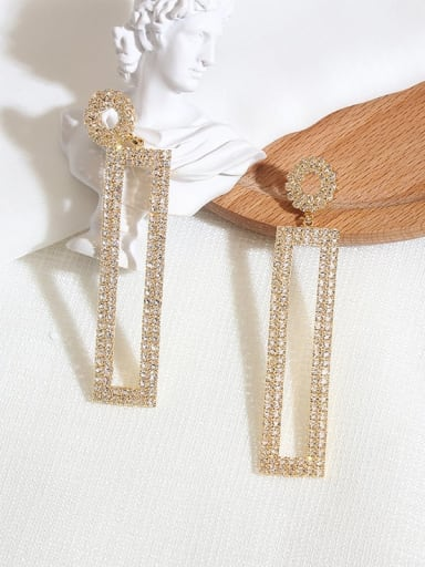 White K Copper Rhinestone Geometric Dainty Drop Earring