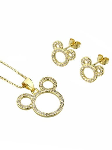 gold-plated Brass Cubic Zirconia Minimalist Mouse  Earring and Necklace Set