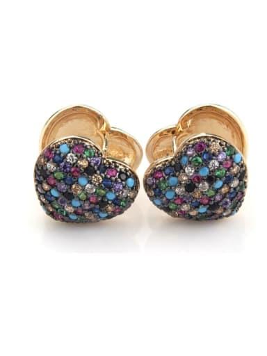 Brass  Heart Cubic Zirconia  Dainty Clip Earring