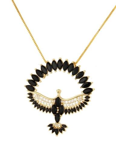 black Brass Cubic Zirconia Religious Bird Dainty Necklace