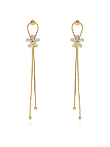 14K gold Copper Cubic Zirconia Tassel Dainty Threader Earring