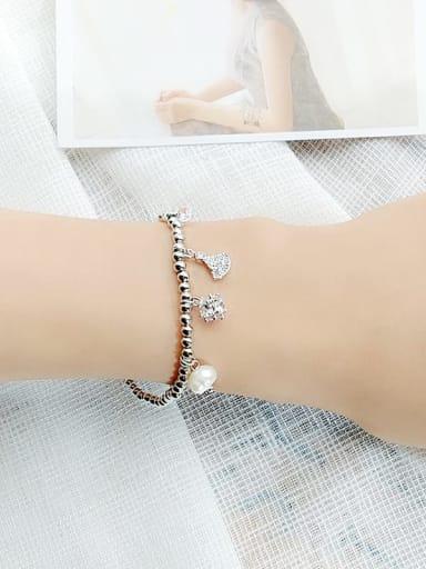 4 Alloy Cubic Zirconia Geometric Vintage Beaded Bracelet