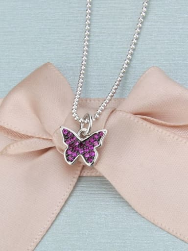 Color zirconium plated with platinum Brass Cubic Zirconia Butterfly Dainty Necklace