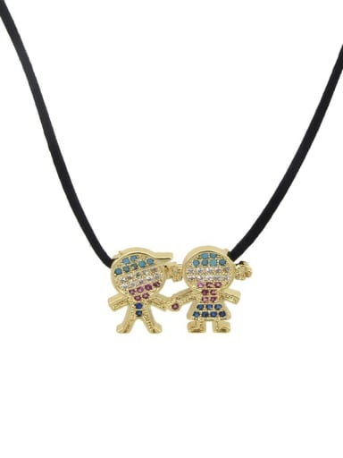 Brass Cubic Zirconia Cute Leather boy and girl Pendant Necklace