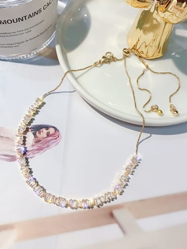 Copper Alloy Cubic Zirconia White Trend Choker Necklace