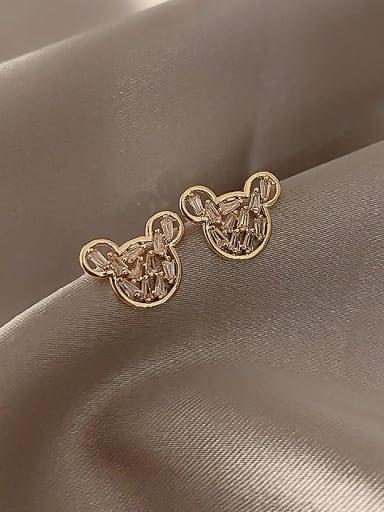 Alloy Cubic Zirconia  Minimalist Stud Earring