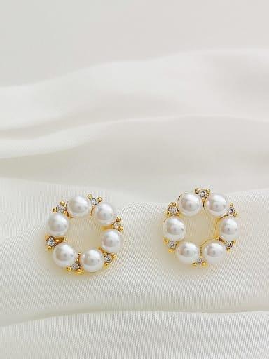 Copper Imitation Pearl Geometric Dainty Stud Earring
