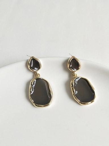 14K  gold dark grey Copper Enamel Geometric Minimalist Stud Earring