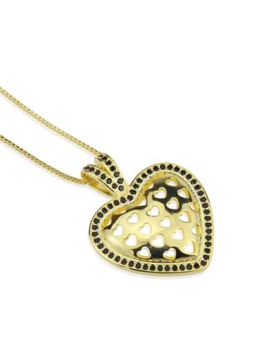 Brass Hollow Heart  Vintage  Pendant Necklace