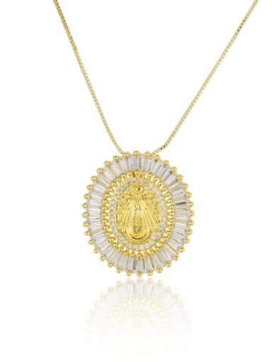 Brass Cubic Zirconia Round Vintage Regligious Necklace