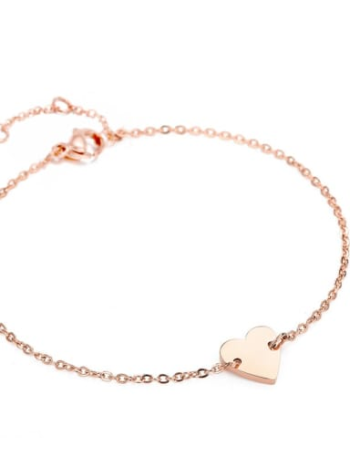 rose gold Stainless steel Heart Minimalist Bracelet