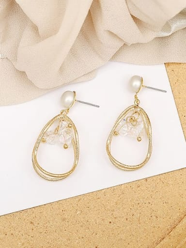 14K  gold Copper Crystal Geometric Dainty Drop Earring