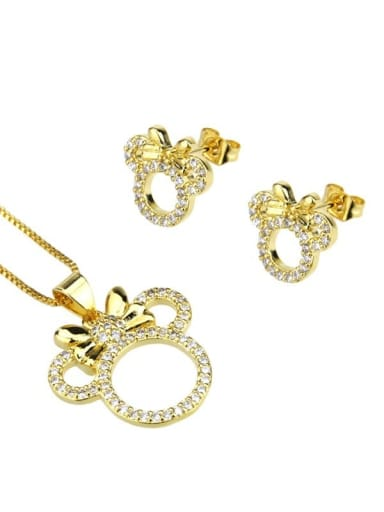 Brass Cubic Zirconia  Cute Mouse Earring and Necklace Set