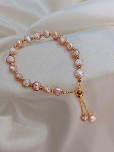 Alloy Imitation Pearl Round Trend Adjustable Bracelet