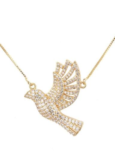 Gold plated white zircon Brass Cubic Zirconia Bird Dainty Necklace