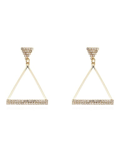 14K gold Copper Rhinestone Triangle Minimalist Drop Earring