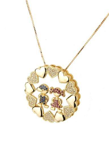 Blue zirconium boy red zirconium girl Brass Cubic Zirconia Heart Dainty Necklace
