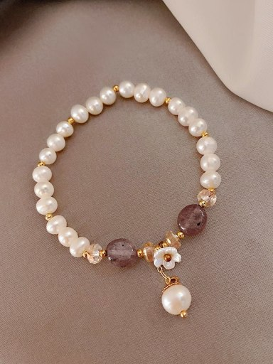 Strawberry crystal.  pearl bracelet Alloy Imitation Pearl Trend Beaded Bracelet