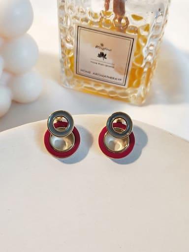 14K  gold red Copper Enamel Geometric Minimalist Drop Earring