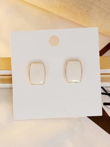 white Copper Enamel Geometric Vintage Stud Earring