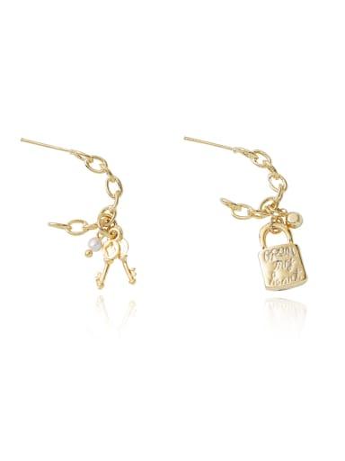 Coppe Ethnic Asymmetric key lock Drop Earring