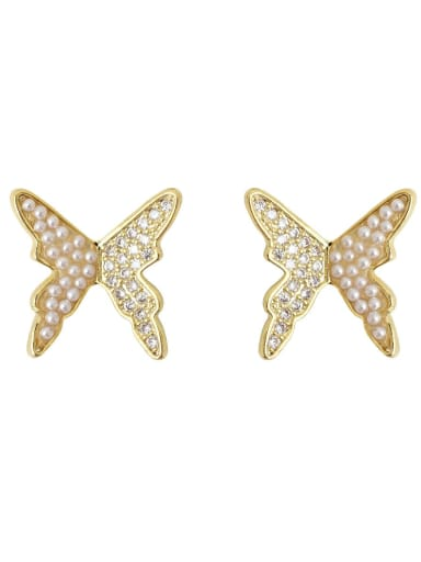 Copper Imitation Pearl Butterfly Vintage Stud Earring
