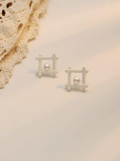 Dumb Silver Copper Imitation Pearl Square Minimalist Stud Earring