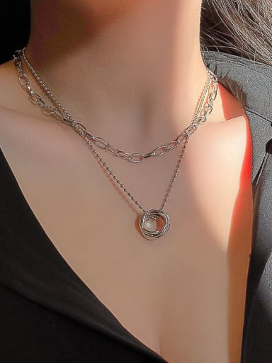 Zinc Alloy White Locket Classic Link Necklace