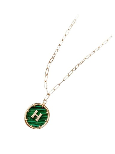 Zinc Alloy Green Letter H Trend Initials Necklace