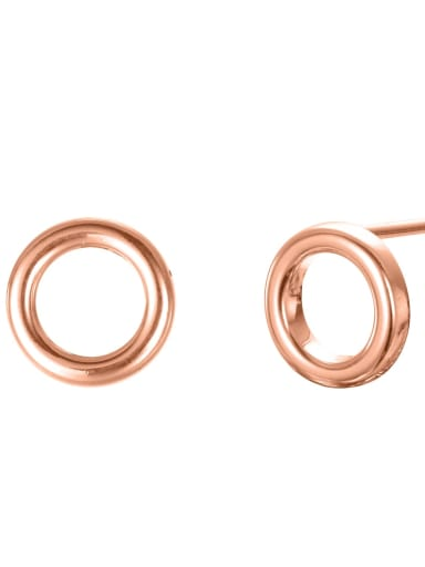 rose gold Stainless steel Round Minimalist Stud Earring